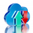 Blue glossy cloud and upload download arrows — Stock Photo #70331723