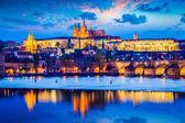 Prague Castle in twilight — Stock Photo