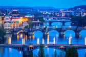 Panorama pragi mosty nad wełtawą — Zdjęcie stockowe