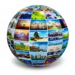 Globe with travel photos — Stock Photo #70378689