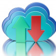 Blue glossy cloud and upload download arrows — Stock Photo #70423487
