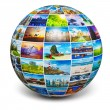 Globe with travel photos — Stock Photo #73537025