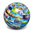 Globe with travel photos — Stock Photo #73538673