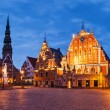 Panorama Riga Town Hall Square with House of the Blackheads, St. — Stock Photo #73661475