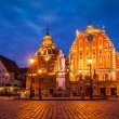 Riga Town Hall Square, House of the Blackheads and St. Roland St — Stock Photo #73661547