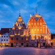 Riga Town Hall Square, House of the Blackheads and St. Peters C — Stock Photo #75802399