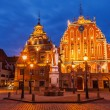 Riga Town Hall Square, House of the Blackheads and St. Roland St — Stock Photo #75802473