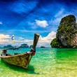 Long tail boat on beach, Thailand — Стоковое фото #79133710