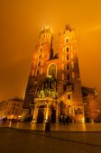 Market square in Cracow at night — Stok fotoğraf