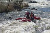 Sport catamaran on the rapid river — Stock fotografie