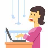 Working mother flat — Stock Vector