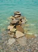 Balanced stones on the sea — Stock Photo