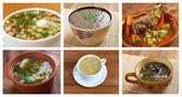 F different traditional soups. collage — Stock Photo