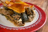 Lasagna with mushrooms and beef — Stock Photo