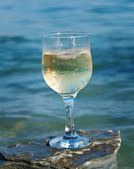 Glass of white wine by the coast — Stock Photo