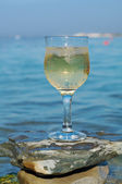 Glass of white wine by the coast — 图库照片