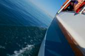 Water wake behind yacht — Stock Photo