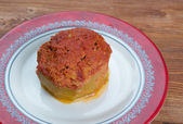 Zucchini stuffed with beef and rice — Stok fotoğraf