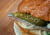 Traditional Dutch sandwich withherring — Stock Photo