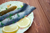 Typical Dutch salted herring — Stock Photo