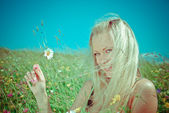 Sexy  blonde   on  green meadow with camomile — Stock Photo