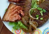 Calf liver and bacon — Stock Photo