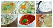 Food set of different soups. — Stock Photo