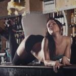 Young women dancing on bar — Stock Photo #81131922