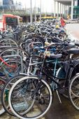 Amsterdam, bicycles parking near Central Station — Photo