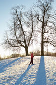 Girl enjoying cross-country skiing running up in sunny day — Stock Photo