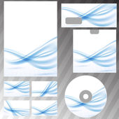 Blue waves lines corporate stationery set — Stockvector
