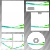 Green swoosh liquid wave  set — Vector de stock