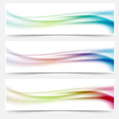 Bright abstract swoosh wave colorful banners — Stock Vector