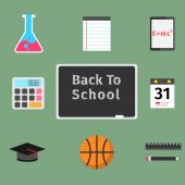 Back to school flat concept set — Stock Vector