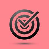 Isolated target icon symbol over red — Vettoriale Stock
