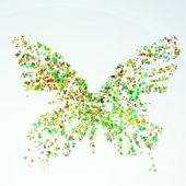 Paint stain butterfly silhouette — Stock Vector