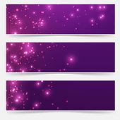 Glittering sparkles headers set — Stock Vector