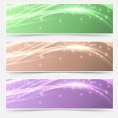Shimmering glitter headers set — Stock Vector
