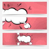 Pop art explosion banners — Stock Vector