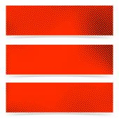 Pop art style dotted red banners — Vetor de Stock