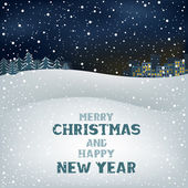 Christmas winter night — Stock Vector