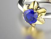 Engagement Ring with Sapphire — Stock Photo