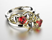 Wedding Ring with garnet. — Foto Stock