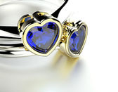 Ring with heart shape sapphire. — Stock Photo