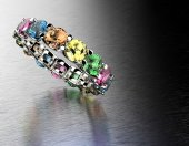 Ring with different color gemstone — Stock Photo