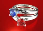 Golden Rings with Diamond — Stock Photo