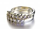 Golden Ring with Diamond — Stock Photo