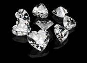 Set of heart-shaped diamond — Stock Photo