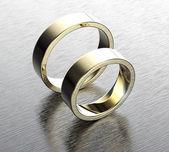 Golden wedding Ring with Diamond — Stock Photo
