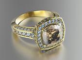 Χρυσό δαχτυλίδι αρραβώνων με διαμάντια — Φωτογραφία Αρχείου